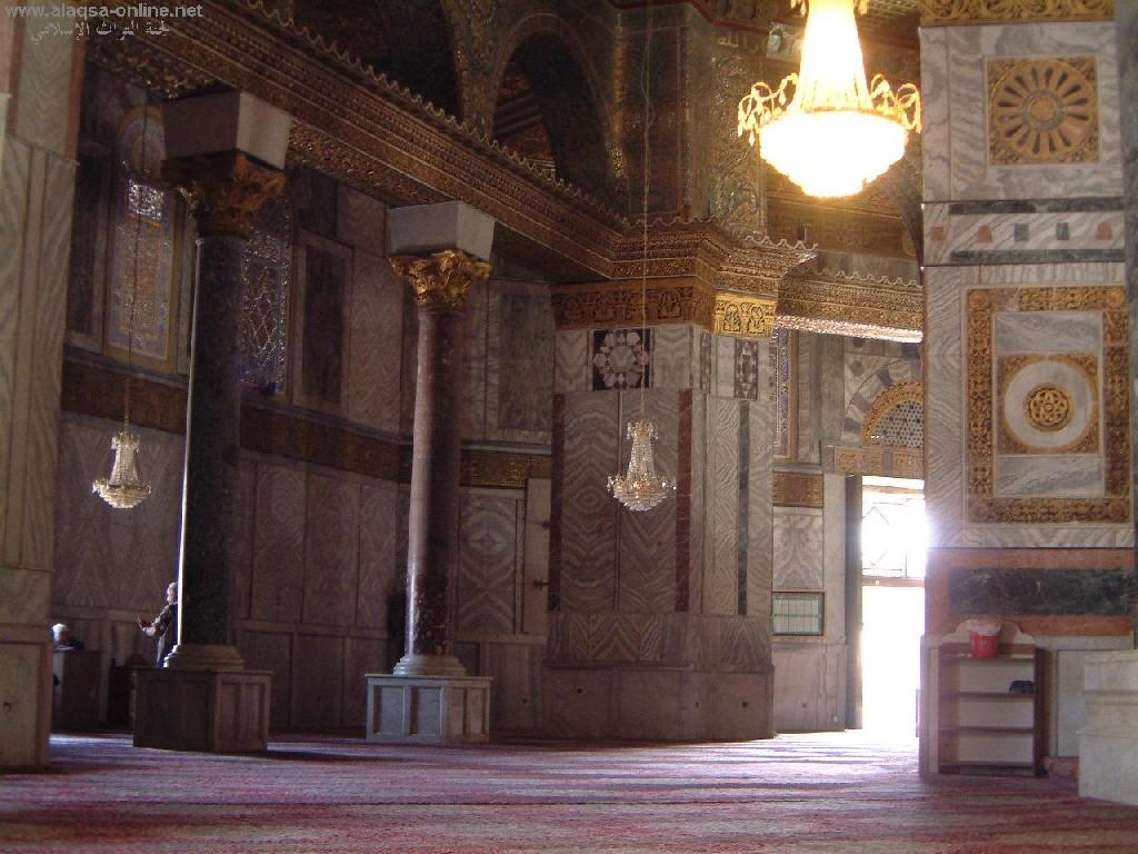 مسجد قبة الصخرة من الداخل وهو جزء من المسجد الأقصى