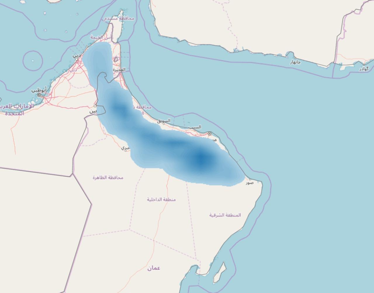 نشاط تكونات محلية على سلطنة عمان والأمارات