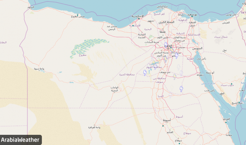 البروق على القاهرة وأجزاء من مصر العليا الثلثاء 24-02-2020