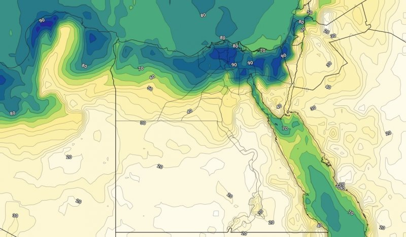 الرطوبة السطحية على شمال مصر مساء الاربعاء الرابع والعشرين من يوليو