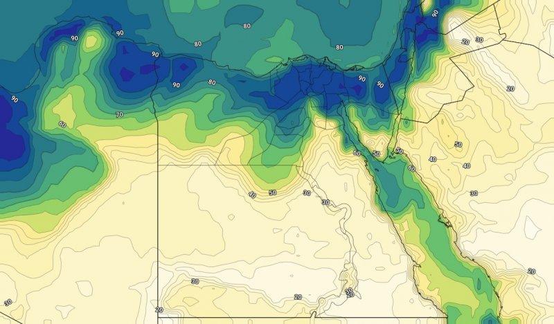 الرطوبة السطحية على شمال مصر يوم الخميس 01-08-2019