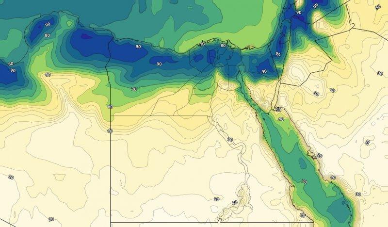 الرطوبة السطحية على مصر الثالث عشر من يوليو 2019