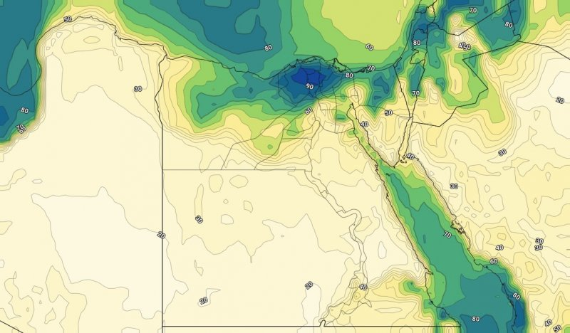 الرطوبة السطحية على مصر ليل الخميس 03-10-2019