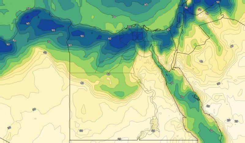 الرطوبة السطحية على مصر مساء الجمعة 06-09-2019