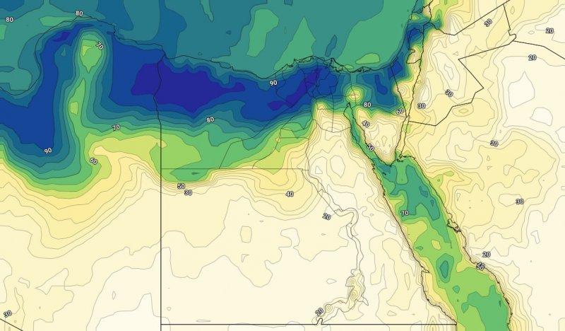 الرطوبة السطحية على مصر مع ساعات الليل من يوم الثلاثاء 30-07-2019