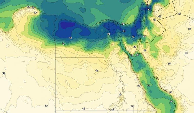 الرطوبة السطحية على مصر مع مساء الأثنين 29-7-209
