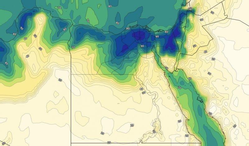 الرطوبة السطحية على مصر يوم الثاني والعشرين من يوليو