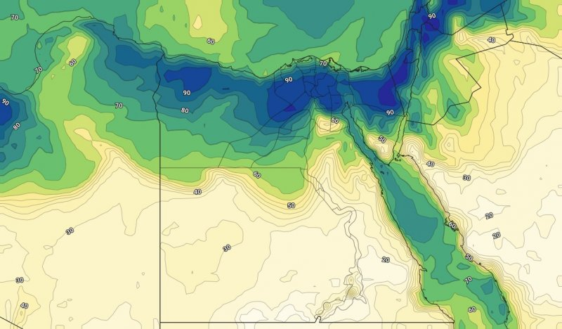 الرطوبة السطحية على مصر يوم الخميس الثامن عشر من يوليو