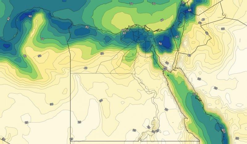 الرطوبة السطحية ليوم الخميس 4 يوليو 2019مساءً