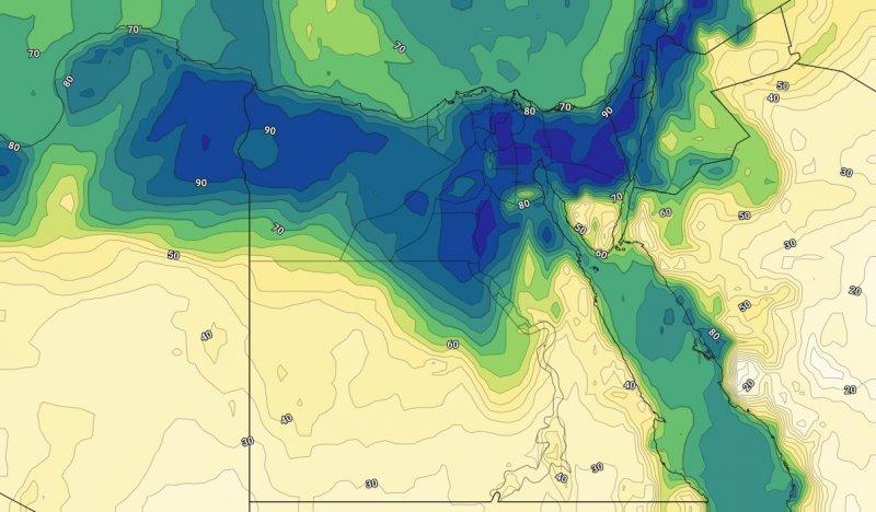 الرطوبة السطحية مساء يوم الأثنين 9-9-2019 على مصر