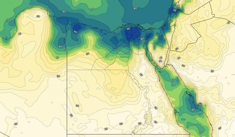 الرطوبة السطحية مع ساعات الليل من الأربعاء العاشر من يوليو