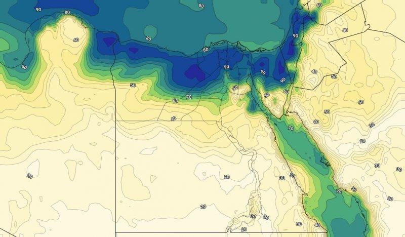 الرطوبة السطحية مع ساعات الليل من يوم الاثنين الثامن من يوليو