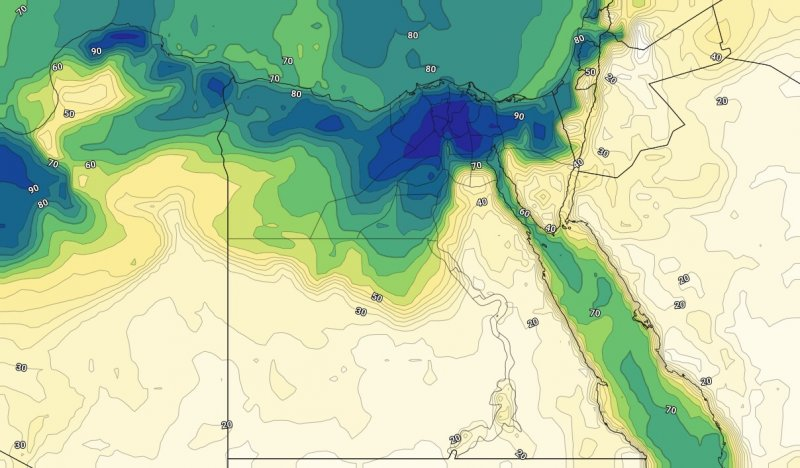 الرطوبة السطحية مع ساعات الليلمن يوم الخميس الخامس والعشرين من يوليو