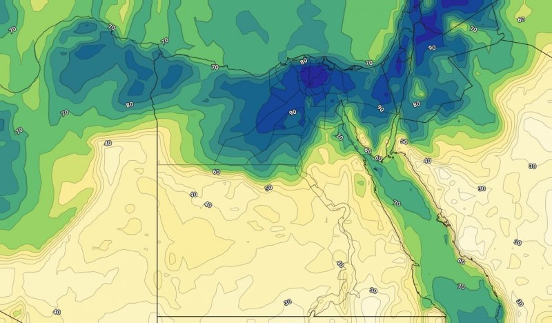 الرطوبة السطحية مع ساعات المساء من يوم الأحد 15-09-2019