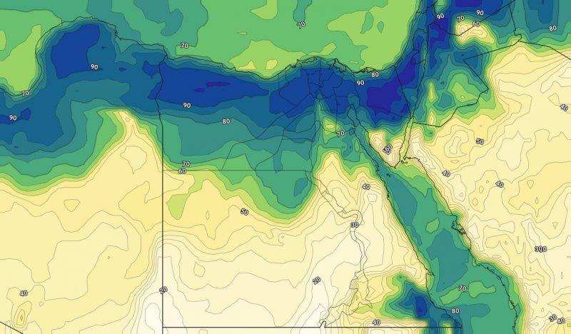 الرطوبة السطحية مع ساعات المساء من يوم الأحد 6-10-2019
