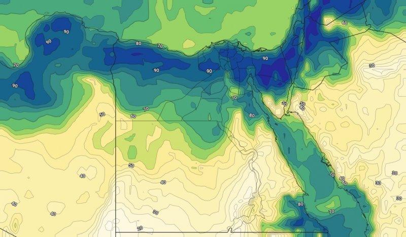 الرطوبة السطحية مع ساعات المساء يوم الأثنين 7-10-209