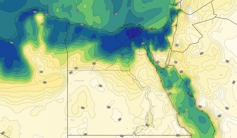 الرطوبة السطحية يوم الثلاثاء ليلاً الثالث والعشرين من يوليو