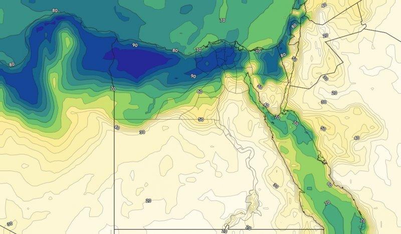الرطوبة على شمال مصر مع ساعات الليل يوم الاربعاء 31-07-2019