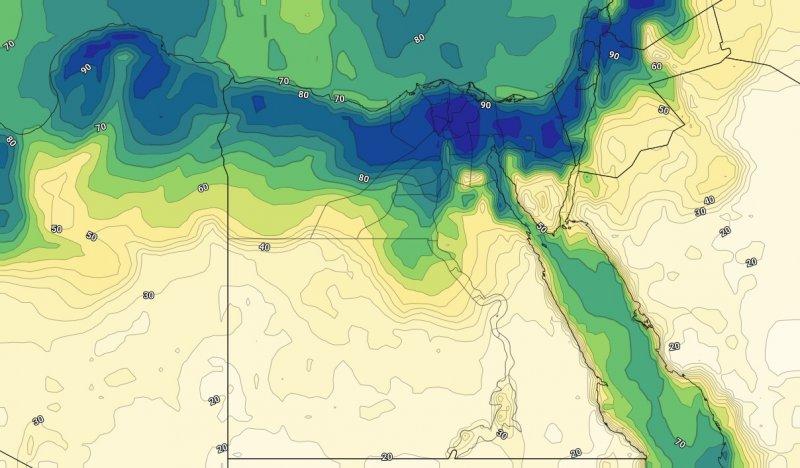 الرطوبة على مصر خلال يوم الجمعة مساءً