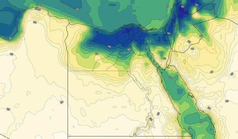 الرطوبة مع ساعات الليل من يوم الاثنين الرابع عشر من يوليو