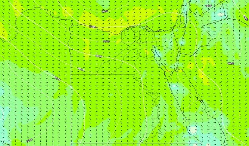 الضغط الجوي والرياح السطحية يوم الخميس 12-12-2019