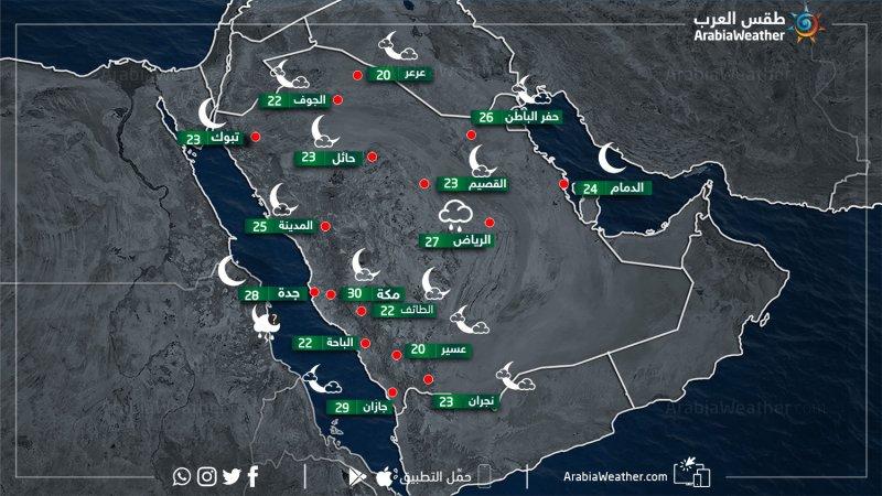 حالة الطقس ودرجات الحرارة في بعض المدن السعودية مساء يوم الأربعاء 1-5-2019