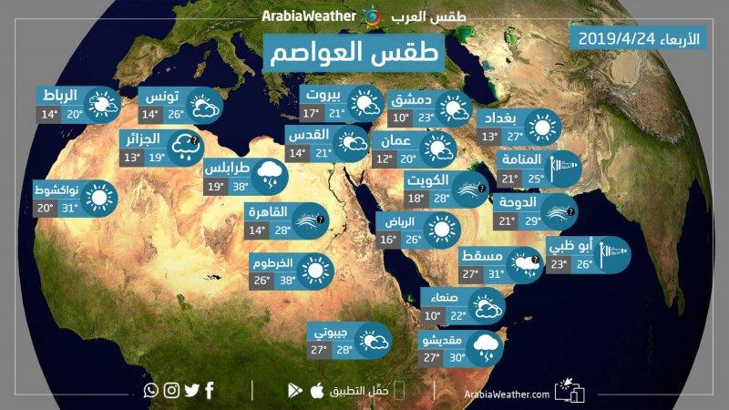 حالة الطقس ودرجات الحرارة المتوقعة في العواصم والمدن العربية ليوم الأربعاء الموافق 24-4-2019