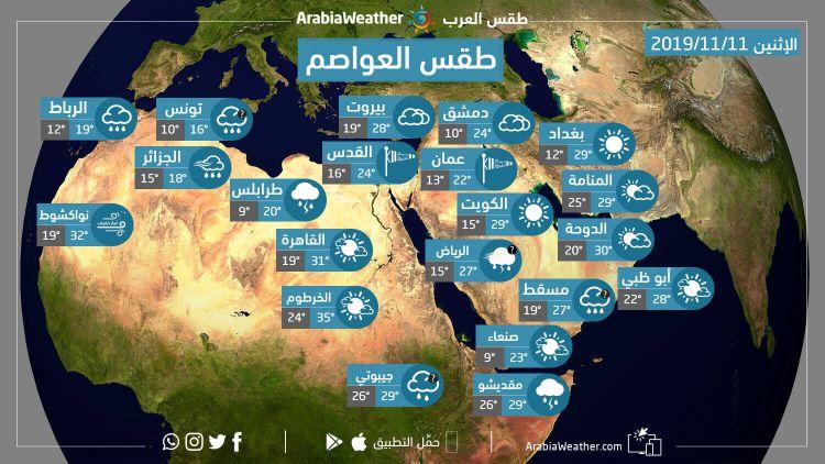 حالة الطقس ودرجات الحرارة المتوقعة في الوطن العربي يوم الإثنين 11-11-2019