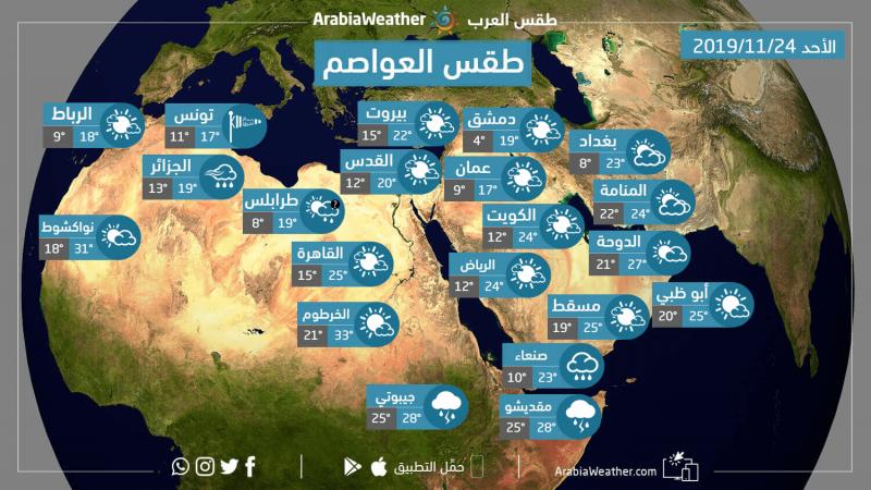 حالة الطقس ودرجات الحرارة المتوقعة في عواصم الوطن العربي يوم الأحد 24-11-2019