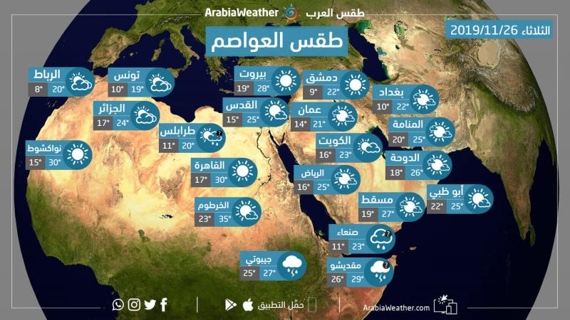 حالة الطقس ودرجات الحرارة المتوقعة في عواصم الوطن العربي يوم الثلاثاء 26-11-2019: