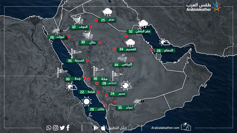حالة الطقس ودرجات الحرارة في بعض المدن السعودية نهاريوم الأحد 24-3-2019