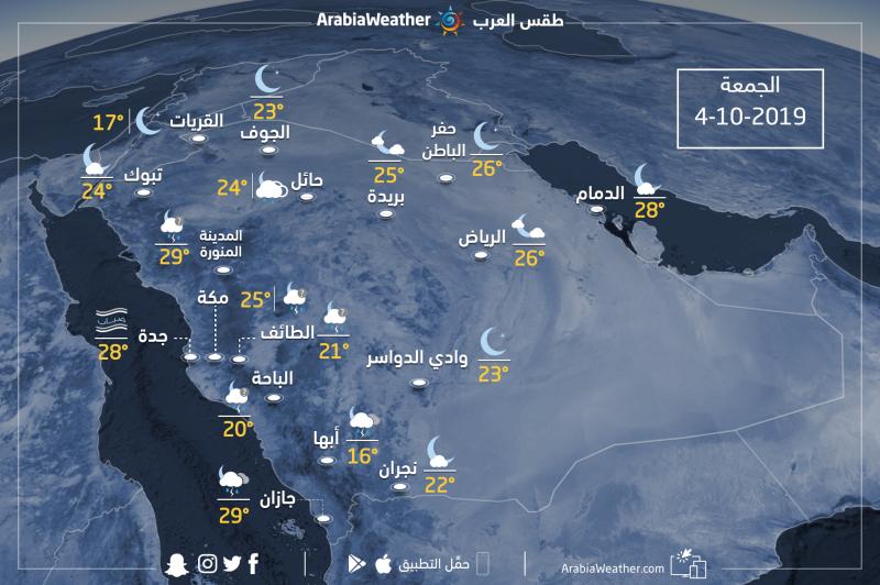 حالة الطقس ودرجات الحرارة في بعض المدن السعوديةمساء يوم الجمعة4-10-2019
