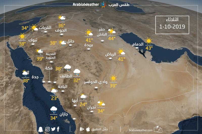 حالة الطقس ودرجات الحرارة في بعض المدن السعوديةيوم الثلاثاء 1-10-2019