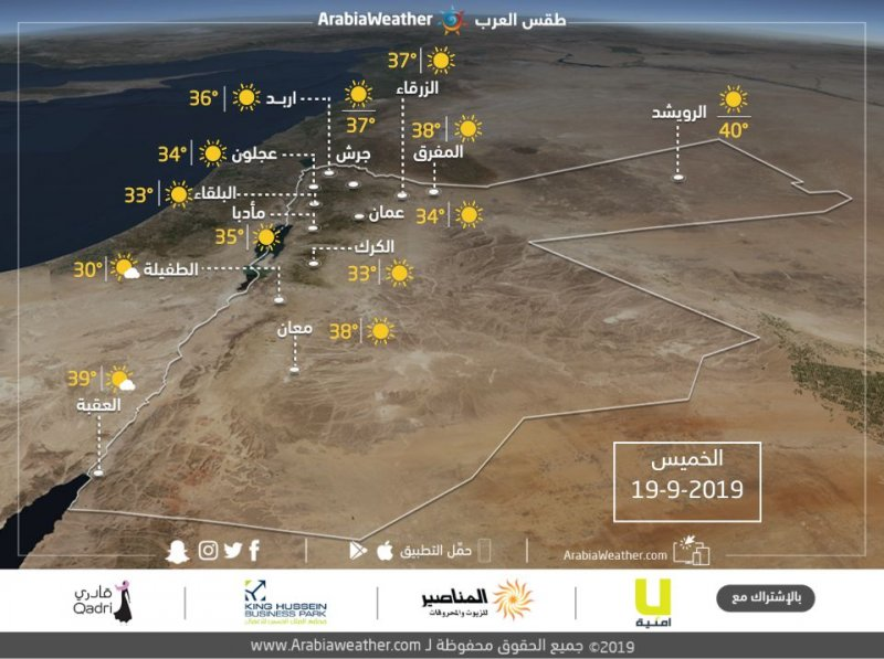 حالة الطقس ودرجات الحرارة في محافظات المملكة يوم الخميس 19-9-2019