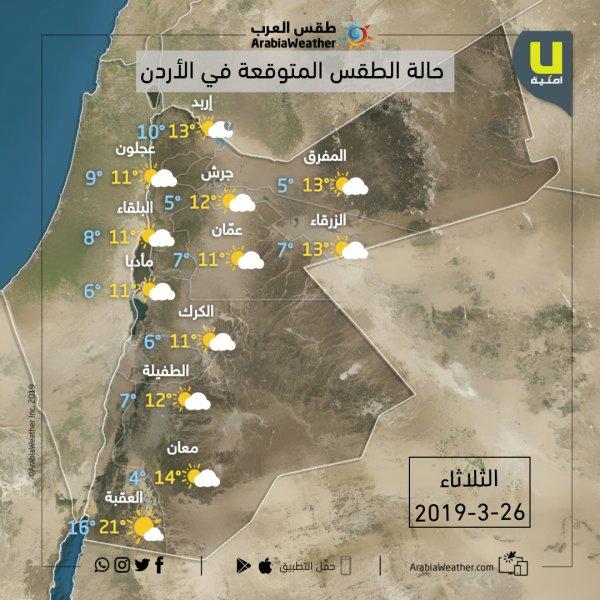 درجات الحرارة في محافظاتالمملكة يوم الثلاثاء 26-3-2019