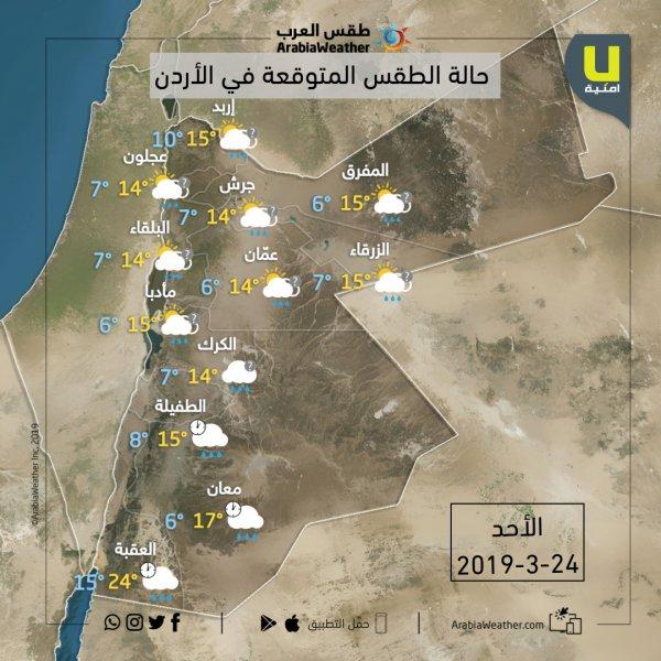 حالة الطقس ودرجات الحرارة في محاقظات المملكة يوم الأحد 24-3-2019