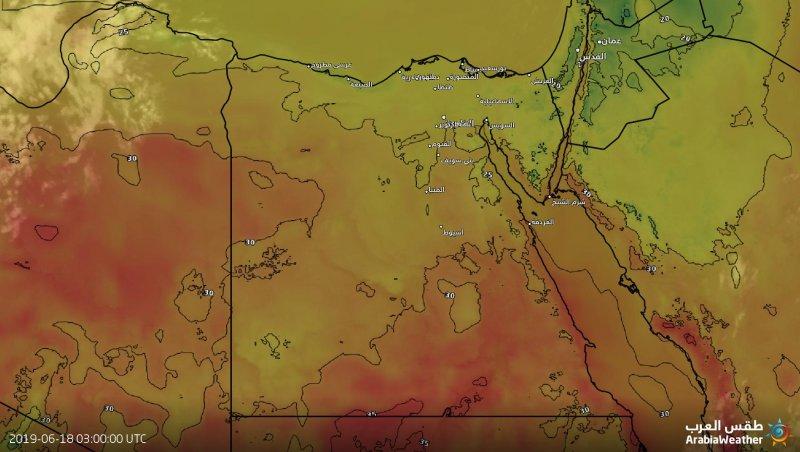 درجات الحرارة المتوقعة في مصر اليوم الثلاثاء 18-6-2019
