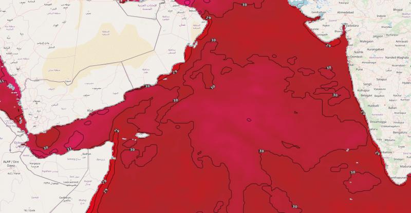 طقس العرب - درجات حرارة سطح المياه في بحر العرب