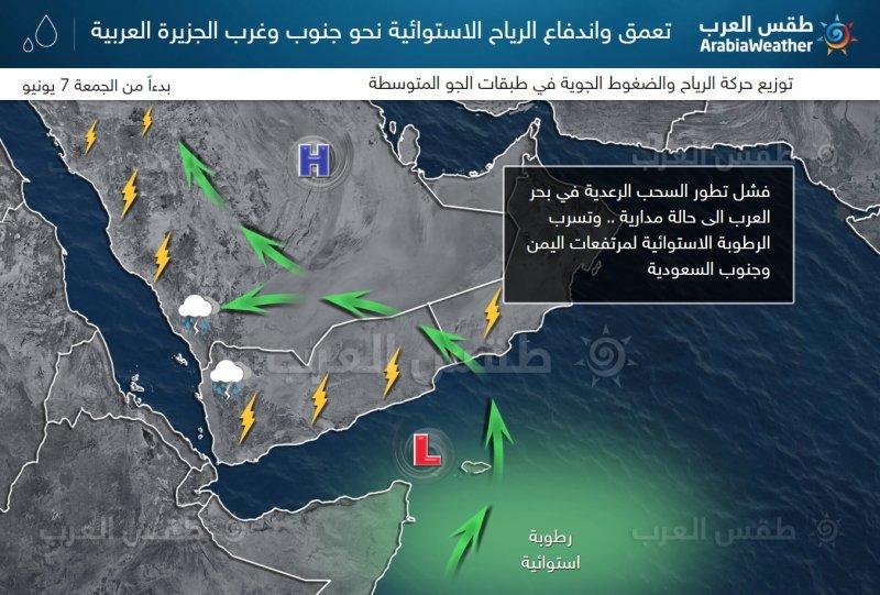 طقس العرب - تنبيه من تشكل السيول على مرتفعات جازان وعسير ومرتفعات اليمن
