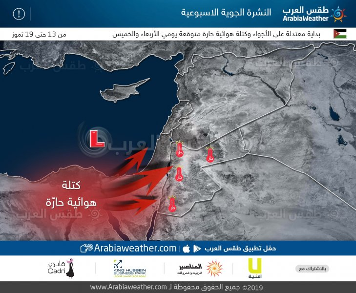 طقس العرب - كتلة حارة طقس الاسبوع الاردن