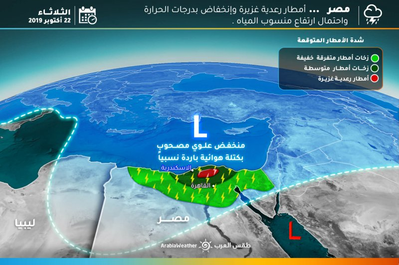 فرصة لزخات أمطار رعدية على أجزاء متفرقة من بلاد الشام ومصر