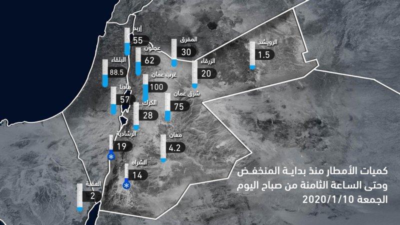 كميات الأمطار المسجلة منذ بداية المنخفض الجوي وحتى الساعة 8 صباح اليوم الجمعة 2020/1/10