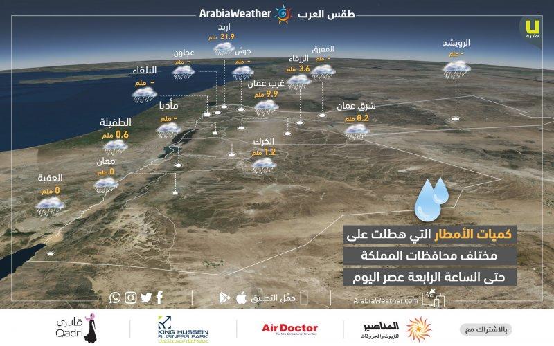 كميات الأمطار المسجلة في محطات طقس العرب حتى الساعة الرابعة من عصر اليوم الأحد