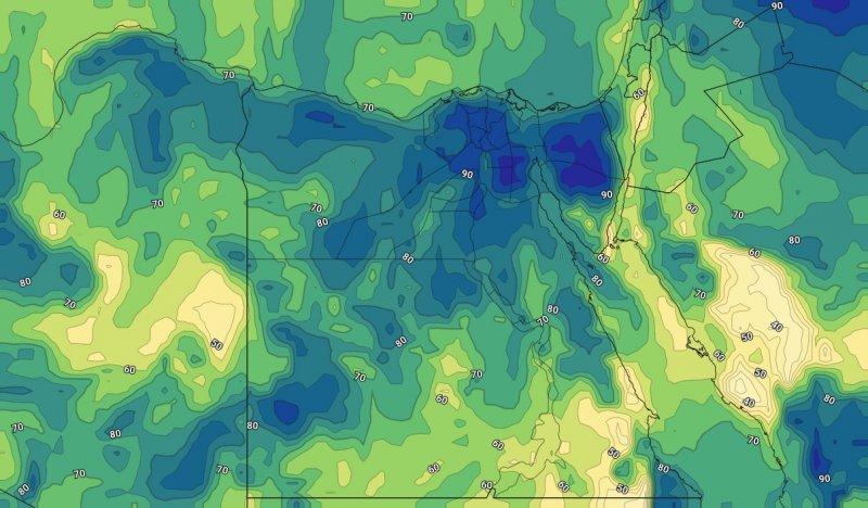 الرطوبة النسبية خلال الحالة الجوية على مصر