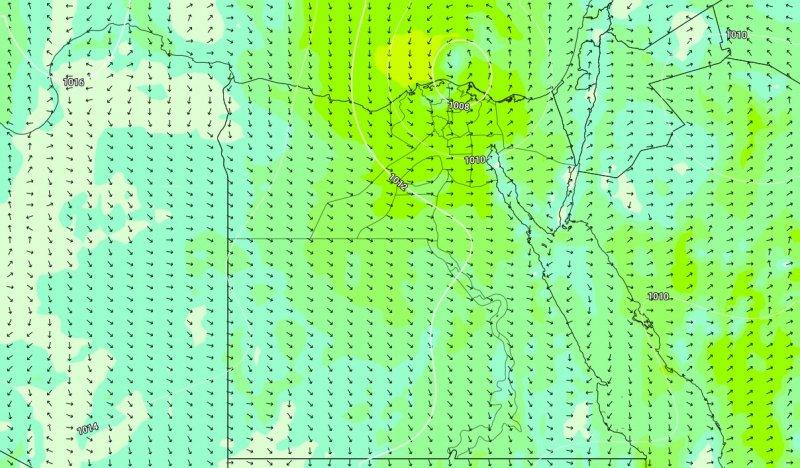 الضغط الجوي وسرعة الرياح الجمعة 25-10-2019