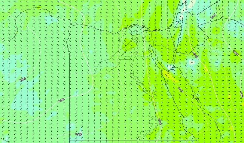 حركة الرياح المتوقعة على مصر خلال يومي الثلاثاء والاربعاء 18-19 فبراير 2020