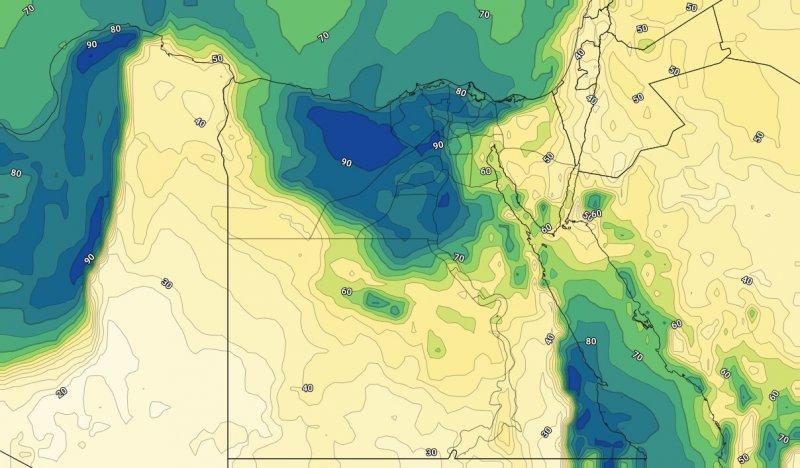 الرطوبة السطحية على مصر مساء الخميس 7-11-2019