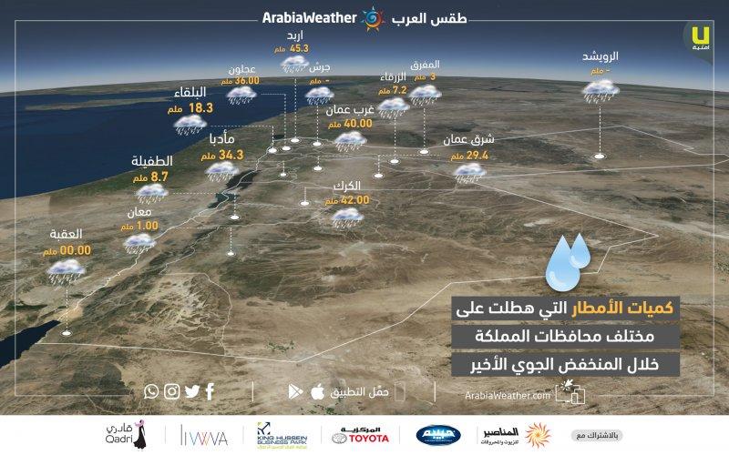كميات الهطول المطري خلال هذا المنخفض الجوي في مختلف محافظات المملكة بحسب محطات طقس العرب المتوفرة حالياً