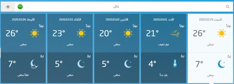 درجة الحرارة حائل