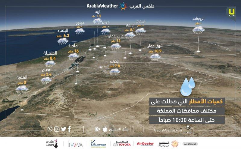 الأردن   كميات الهطول المطري حتى الساعة 10:00 صباح اليوم الإثنين 25-3-2019